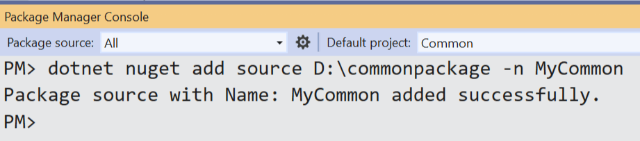 nuget package added to source