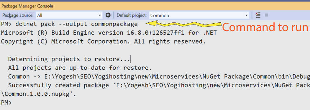 nuget package command