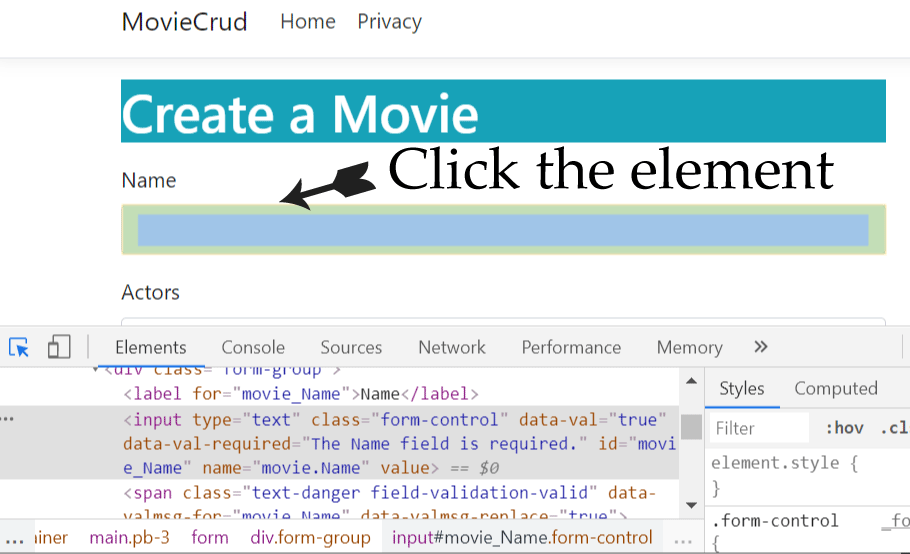 click the element to select it