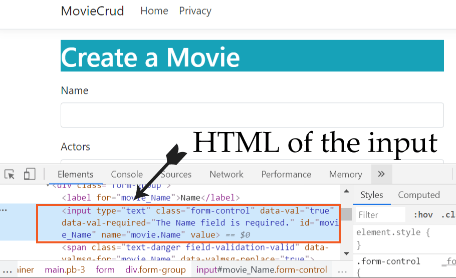 html code of element