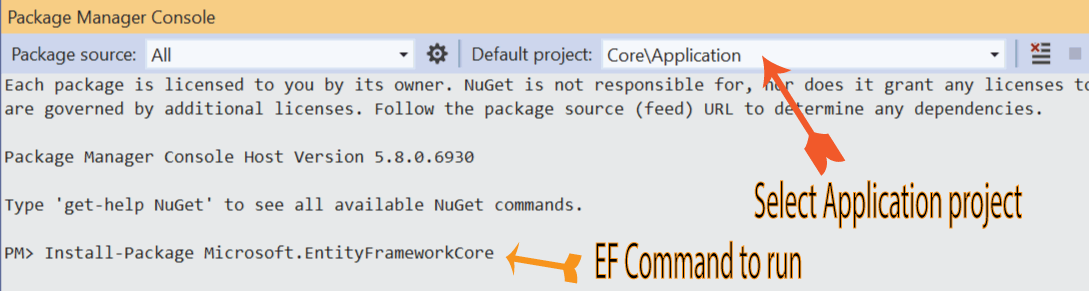 package manager console command