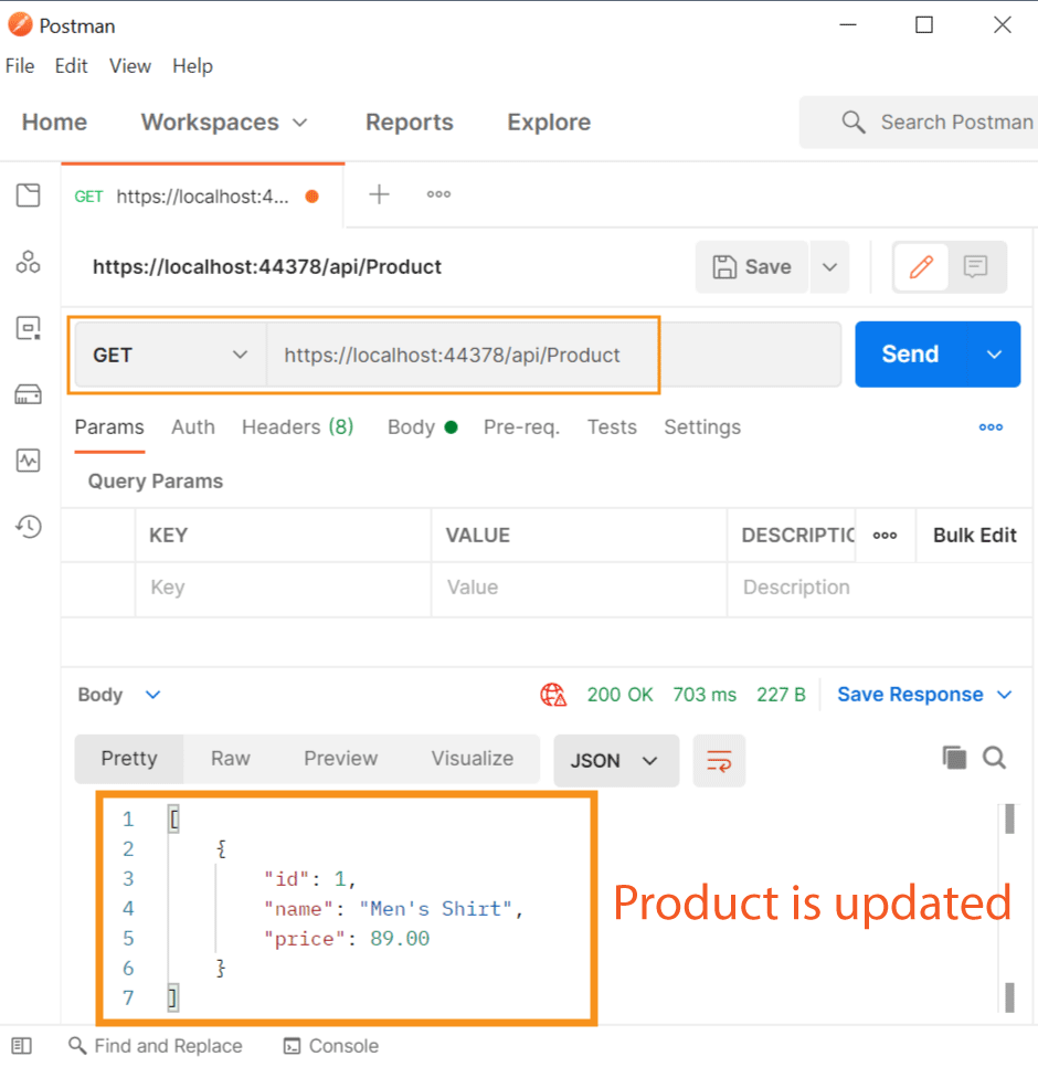 product updated postman