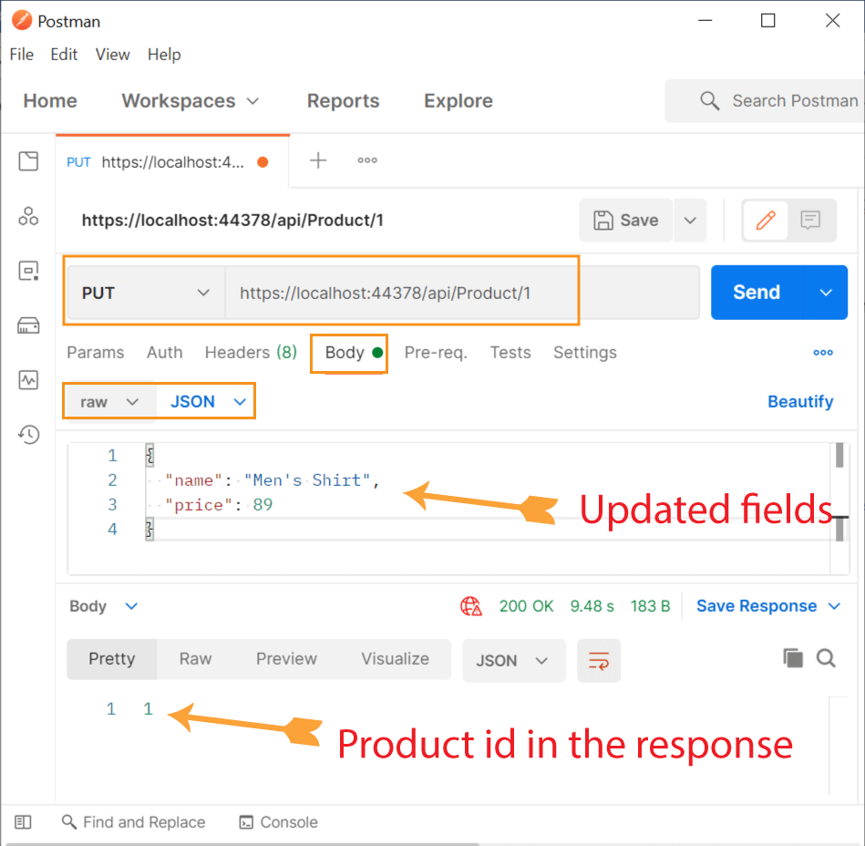 Update Product CQRS Postman